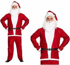Red Father Christmas Santa 5 Pieces Suit Christmas Fancy Dress Costume One Size