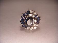 Magnificent Estate 18K White Gold Sapphire Diamond Ring Band