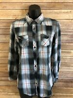 Womens Angie Long Sleeve Plaid Shirt Size Large Button Down Blue Red Casual L/S