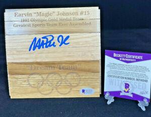 Magic Johnson - Autographed/Signed Olympic Dream Team - Court Wood - Beckett COA