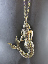 Oro Bronce Sirenita Collar Largo Playa Colgante Mar Disfraz Vintage S50