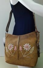 "Kensie Flower Floral Brown Hobo Shoulder Bag Handbag Purse ""NWT"""