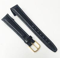 Hirsch Genuine Wild Boar 16mm Genuine Black Leather Gold Buckle Watch Band