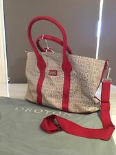 BNWT RED TAUPE OROTON STENCIL TOTE OVERNIGHT CARRY TRAVEL SHOULDER BAG RRP $495