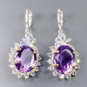 Luxury fashion 70 ct+ IF Amethyst Earrings Silver 925 Sterling   /E51609