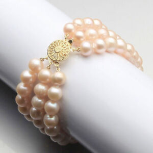 "New 2020 Gift 3 Rows 7-8mm Pink Freshwater Akoya Pearl Bracelet 7.5"" Round"