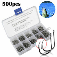 500 PCS 10 Sizes Mixed about Carbon Steel Fishing Hooks Fishing Tackle Box
