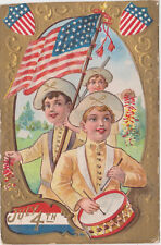 July 4th,Embossed,Postcard,3 Boys,Fire Crackers,U.S.Flags,Patriotic,Used,1909