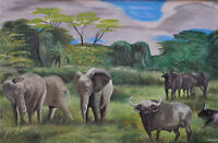 "perfact 36x24 oil painting handpainted on canvas"" elephants and cattle ""@3064"