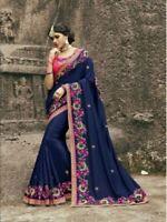 Indian saree Blouse Navy blue heavy embroidery georgette designer Sari Saree UK