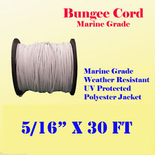 "5/16"" x 30 Ft (10 Yard) Premium Marine Grade Bungee Shock Stretch Cord UV White"