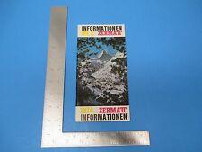 International Travel Brochure, 1974 Zermatt Information Alpines Museum S878