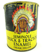 Vtg ANTIQUE PAINT CAN Truck Tractor Yellow Enamel CHICAGO Seminole Indian Chief