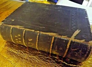 ANTIQUE FAMILY HOLY BIBLE with Over 800 Engrabings Believed over 100 Years Old