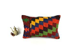 Kilim Pillow Cover 16x24 Decorative Handmade Oushak Rug Cushion Cover 3450