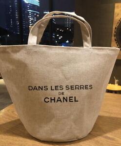 CHANEL Beaute Dans Les Serres VIP GIFT Big Linen Shopping Tote Bag Handbag Be...