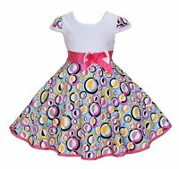 New Girls White and Colour Circle Party Dress in 4 5 6 7 8 Years