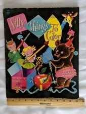 Vintage 1955 Coloring Book, Silly Things To Color Partially Used