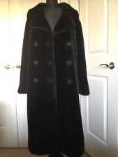 Black Double Breasted Faux Fur Vintage Teddy Midi Duster Coat 10