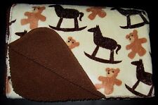 Northpoint Baby Rocking Horse Teddy Bear Cream Brown Blanket Plush Sherpa Back