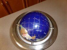 Semi-Precious Gemstone World Globe Table Top Three Legged Metal Stand
