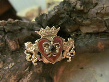Vintage Rare Gold tone Alice Caviness Heart Shield Crest Crown lion Design pin