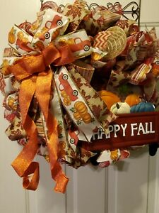 THANKSGIVING FALL HARVEST LARGE DOOR AUTUMN WREATH METAL HAPPY FALL TRUCK SIGN