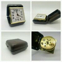 Vintage Westclox Travel Alarm Clock Timepiece Foldable Wind Up Dark Cover Works!