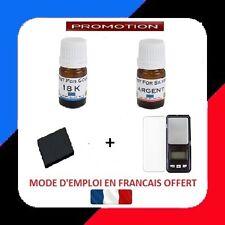 TESTEUR OR 2 FLACON PRET A L'EMPLOI 18 + ARGENT + PIERRE DE TOUCHE +BALANCE 0.01