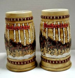 Lot of 2 Vtg 1981 Holiday Clydesdales in Birch Trees Beer Stein Ceramarte Mugs
