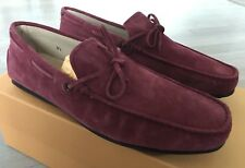 550$ Tod's Cherry Laccetto Gommino City Suede Drivers Size US 10.5 Made In Italy