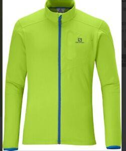 Salomon Men's Medium Organic Green Discovery Fz Midlayer Running Jacket