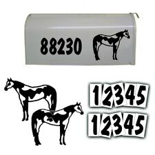 REFLECTIVE MAILBOX NUMBER address DECAL KIT and American Paint Horse in BLACK