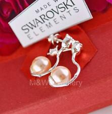 925 Sterling Silver Stud Earrings ROSE Crystals From Swarovski® PEARL Peach 8mm