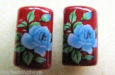 2 Japanese Tensha Beads BLUE ROSE on RUBY PILLOW Beads 20mm