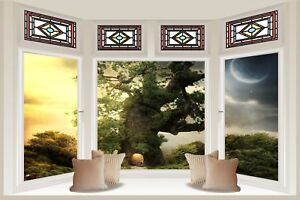 Huge 3D Bay Window Abstract Fantasy World View Wall Stickers Decal Mural 639