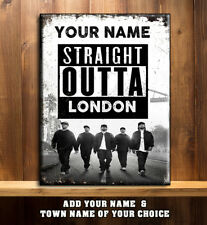 PERSONALISED STRAIGHT OUT OF COMPTON RAP TOWN NAME Vintage  Metal Wall Sign RS89