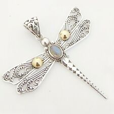 "Rainbow Moonstone Dragonfly 925 Sterling Silver Pendant Jewelry S 2.25"" #3146"