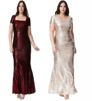 Gold/Wine Red Sequin Long Evening Dress-Party/Dance/Formal-Plus16/18/20/22/24/26