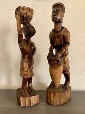 AFRICAN HAND CARVED WOOD SCULPTURES - VINTAGE MALE / FEMALE