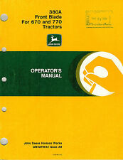 John Deere 380A Front Blade Operator'S Manual for 670 770 Compact Tractors jd