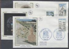 FRANCE FDC - S88 89 90 1 UNESCO -  PARIS 26 Octobre 1985 - LUXE sur soie