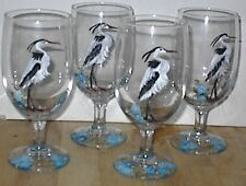 HAND PAINTED HERONS W/ BLUE FLOWERES ICE TEAS / SET OF 4(MADE IN THE USA)