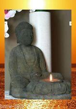 Buddha Teelichthalter Lavastein Meditation Feng Shui