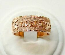 Hawaiian Plumeria Scroll Ring Raised Letter 14K Pink Rose Gold Personalized 8Mm