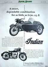 Vintage 1954 INDIAN Model 'R' Motor Cycle Combination ADVERT - Original Print AD