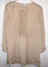 Chico's Tan  Sheer Circle Print  1 Button Ruffle Front Panel 3/4 Sleeve Size 1