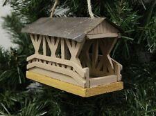 Wooden Covered Bridge Christmas Ornament