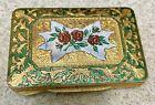 Antique Brass & Enamel Cigarette Box Case w Roses
