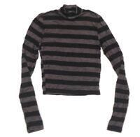 RUE21 Women's T-Shirt Blouse LongSleeve Stripe Top Black Gray Turtleneck M  A332